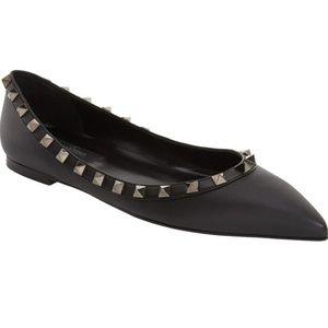 Valentino Black Rockstud Noir Pointy Toe Flats